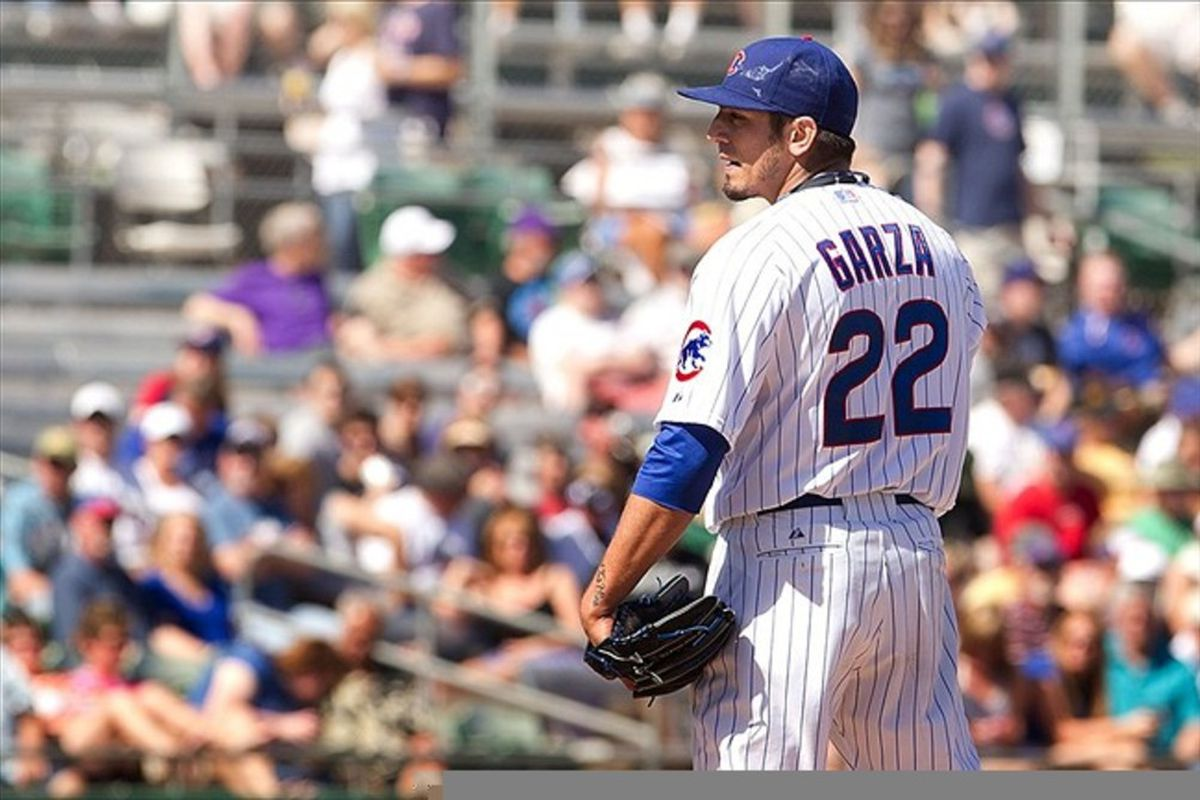 Chicago Cubs pitcher Matt Garza on the mound during the first inning against the Colorado Rockies at HoHoKam Park. Mandatory Credit: Allan Henry-US PRESSWIRE
