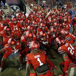 Utah Utes players get ready for the game in Provo on Saturday, Sept. 9, 2017. Utah won 19-13.