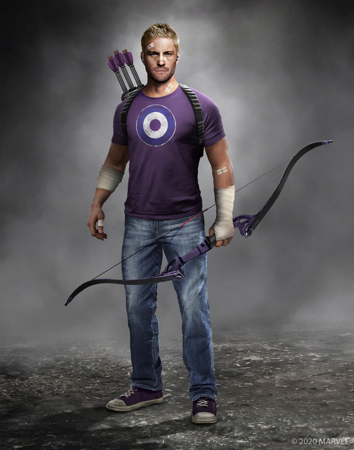 concept art of Hawkeye / Clint Barton in Marvel's Avengers, wearing a purple T-shirt with a bullseye on it and blue jeans, holding a purple bow in his left hand with a quiver slung on his back holding three purple arrows