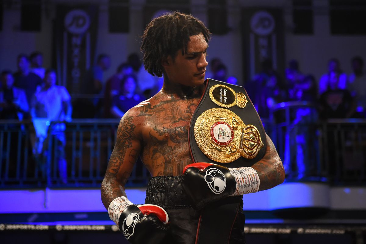 Conor Benn celebrates following his victory in the WBA Continental Welterweight Championship fight between Conor Benn and Jussi Koivula at York Hall on June 21, 2019 in London, England.
