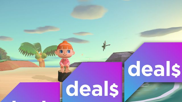 A screenshot from Animal Crossing: New Horizons with the Polygon Deals logo overlaid