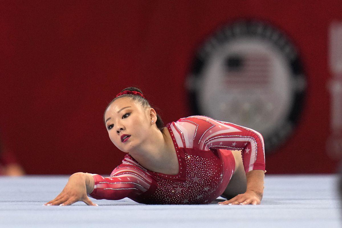 Kara Eaker competes in the floor exercise