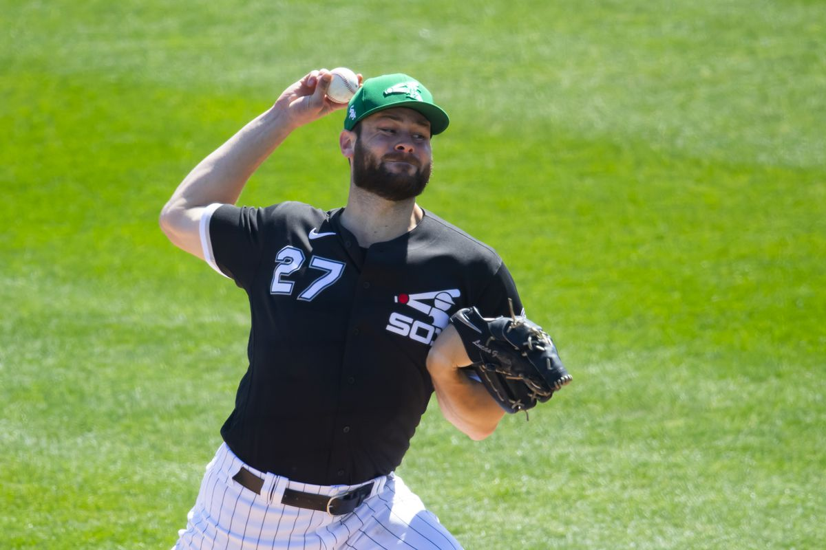 Chicago White Sox pitcher Lucas Giolito against the Los Angeles Dodgers during a Spring Training game at Camelback Ranch Glendale.