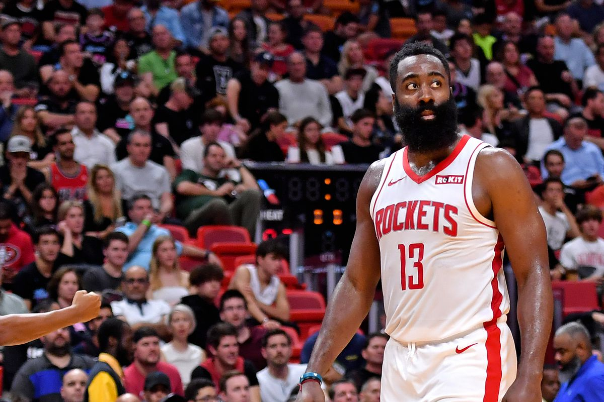 Houston Rockets guard James Harden reacts after fouling Miami Heat forward Jimmy Butler during the second half at American Airlines Arena.