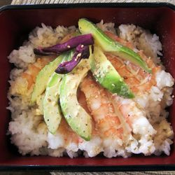 """Avocado and Shrimp Rice Box from Radiance Tea House by <a href=""""http://www.flickr.com/photos/50772153@N07/5496001319/in/pool-eater"""">CarbZombie</a>. <br />"""