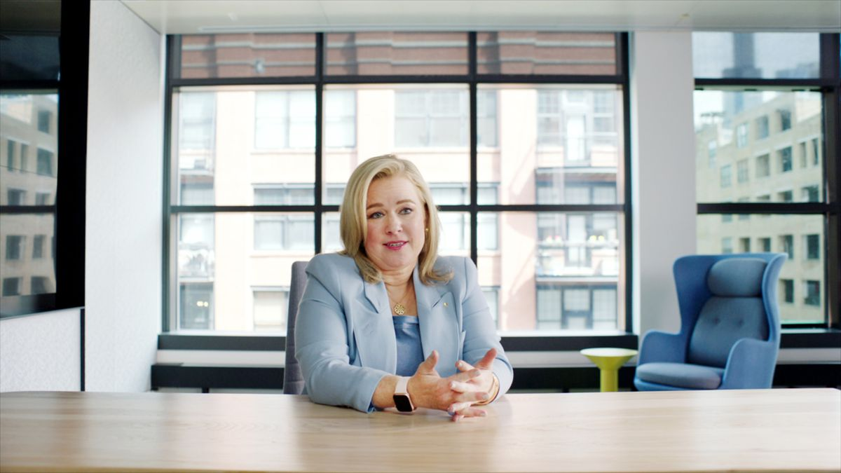 """Amy Murray, a McDonald's marketing exec who helped catch the Monopoly thieves, is interviewed at the company's West Loop headquarters in """"McMillions."""""""