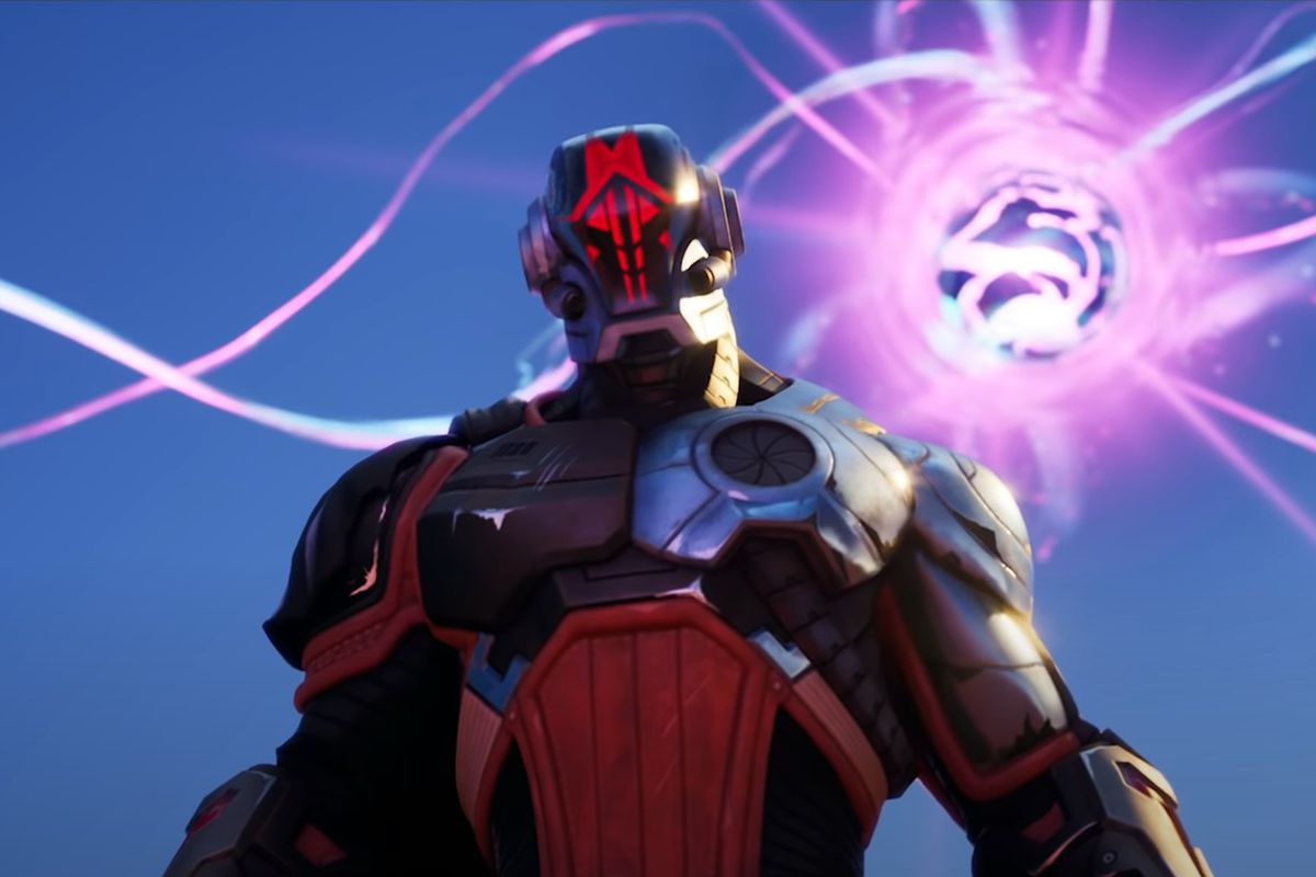 The Foundation looks down at Agent Jones from Fortnite's season 6 event