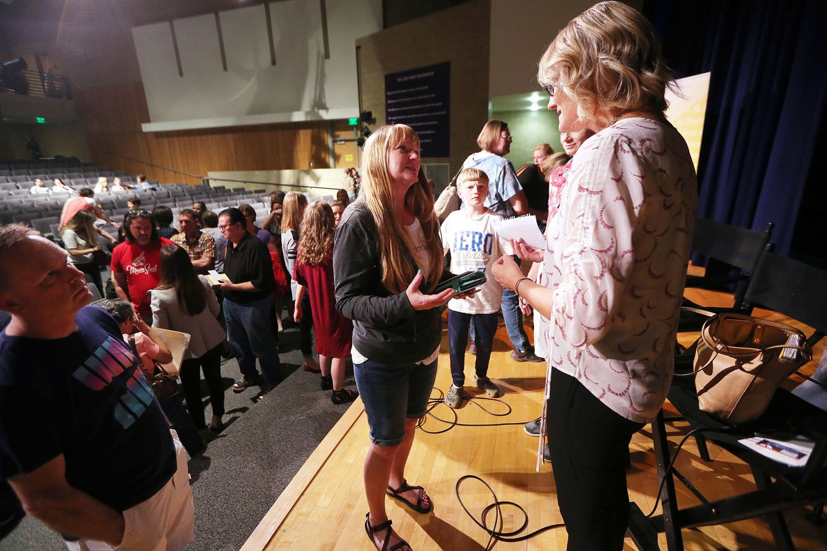 """""""Angst"""" producer Karin Gornick talks with Ginger Hales after a screening in Herriman on Wednesday, May 30, 2018."""
