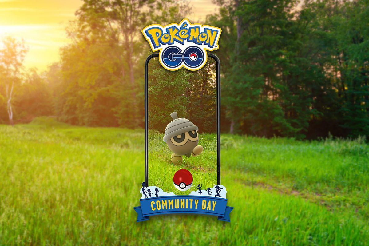 A Seedot, an acorn-like Pokémon, walks around on a grassy path