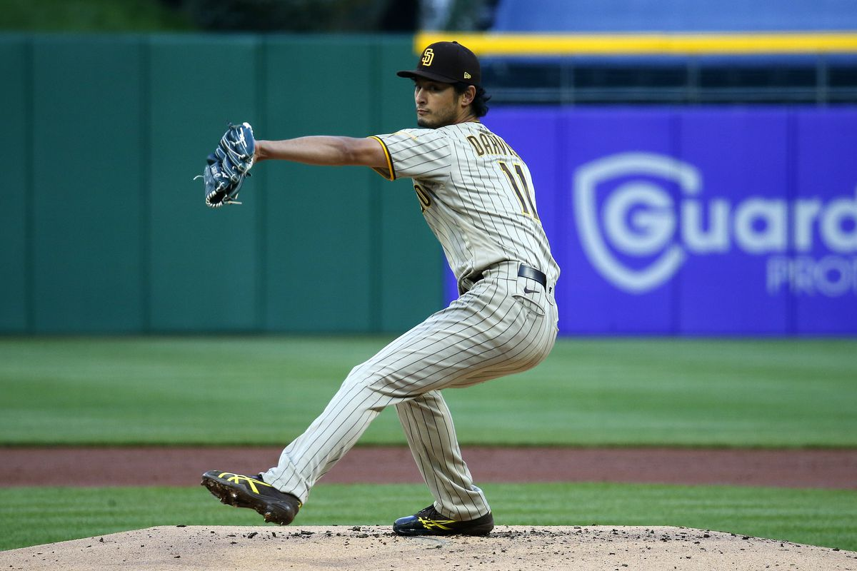 Yu Darvish #11 of the San Diego Padres pitches in the second inning against the Pittsburgh Pirates at PNC Park on April 12, 2021 in Pittsburgh, Pennsylvania.