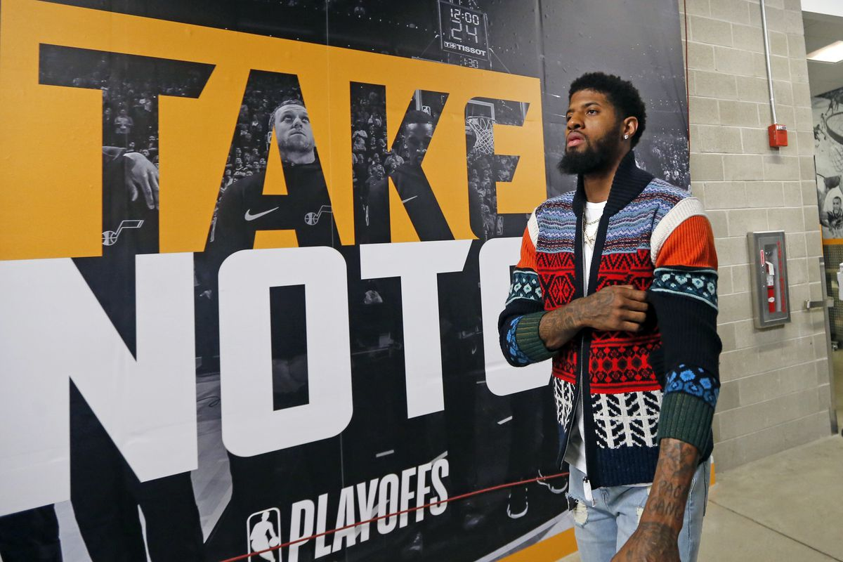 Oklahoma City Thunder forward Paul George arrives for Game 3 of an NBA basketball first-round playoff series against the Utah Jazz Saturday, April 21, 2018, in Salt Lake City.