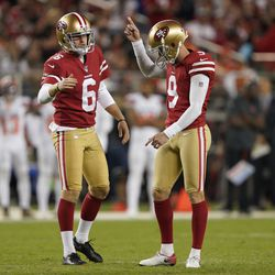 San Francisco 49ers kicker Robbie Gould (9) is congratulated by Mitch Wishnowsky after kicking a field goal against the Cleveland Browns during the second half of an NFL football game in Santa Clara, Calif., Monday, Oct. 7, 2019.