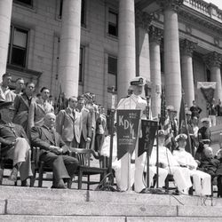 Herbert B. Maw served as governor of Utah from 1941 to 1949. Gov. Maw is seated on the steps of the Utah State Capitol in this June 7, 1942, photo.
