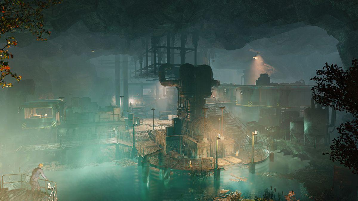 Fallout 76 - لقطة داخل اللعبة لبيئة مستوطنة كبيرة ، مع معدات ومستوطنين يتحركون في المنطقة.
