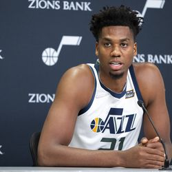 Utah Jazz center Hassan Whitesidet (21) answers a question during the Utah Jazz media media day at Vivint Arena in Salt Lake City on Monday, Sept. 27, 2021.