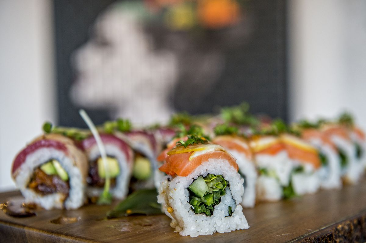 Misaki on Broadway's orange lion roll stuffed with vegetables and covered in salmon.