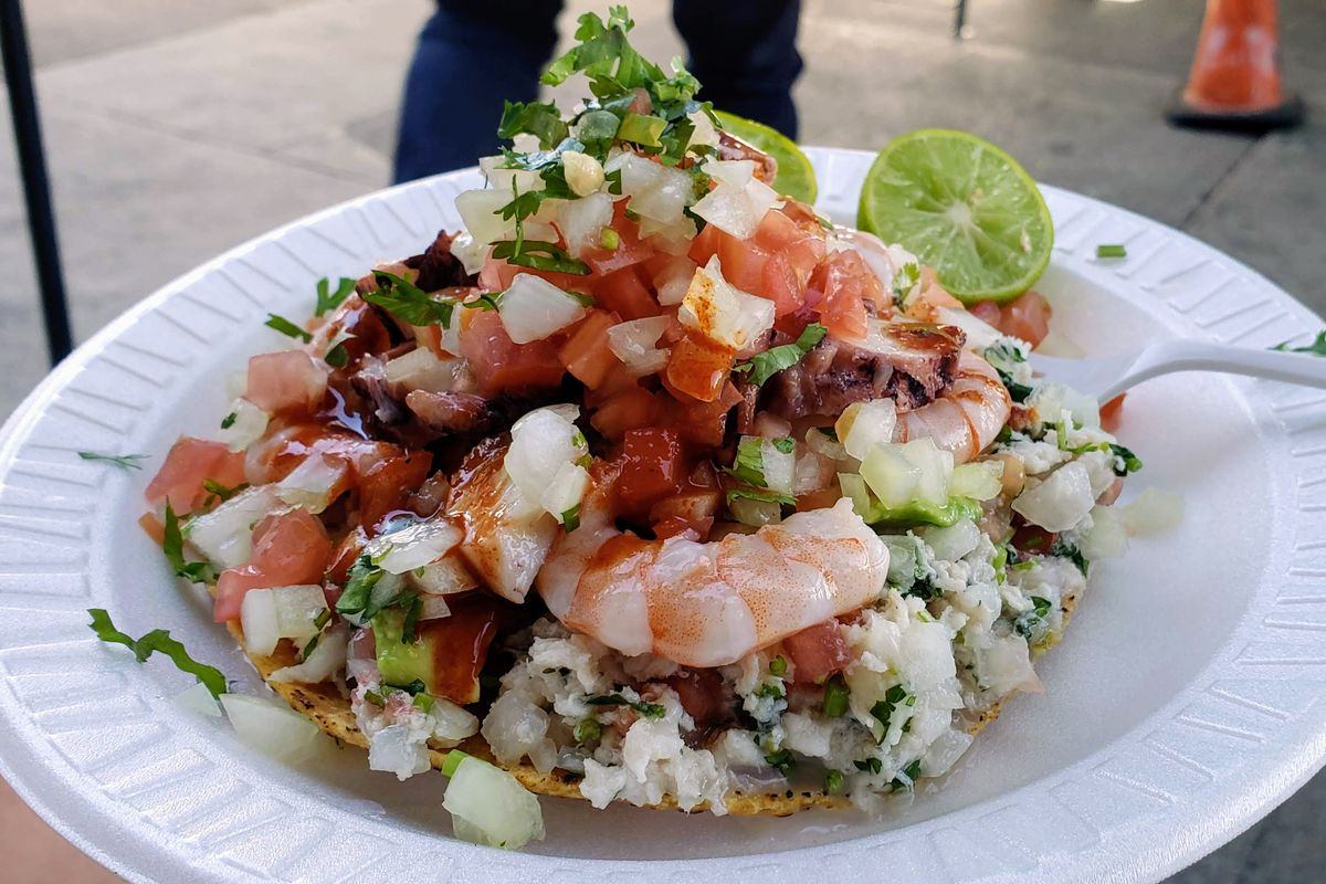 A tostada from Mariscos Jalisco taco truck in East Los Angeles