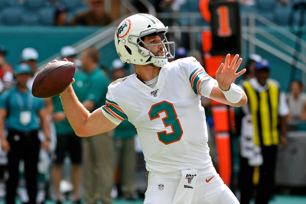 Miami Dolphins quarterback Josh Rosen attempts a pass against the New England Patriots during the second half at Hard Rock Stadium.