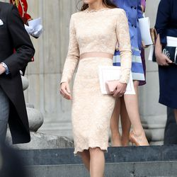 Departing a service of Thanksgiving at St. Paul's Cathedral on June 5th, 2012 in an Alexander McQueen dress, L.K. Bennett shoes, and Jane Taylor hat.
