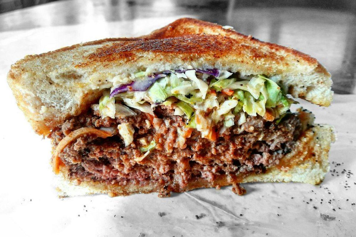 Jake's Sloppy Slaw Burger at Red Eyed Mule