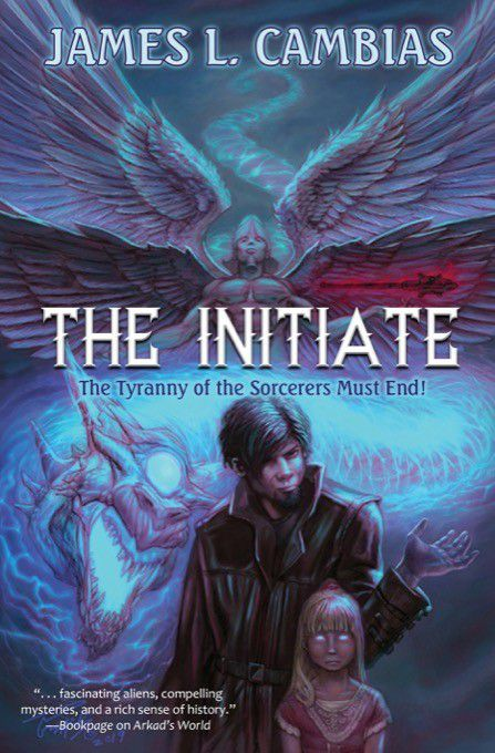 An angel, a dragon, and a spooky kid on the cover of The Initiate by James Cambias