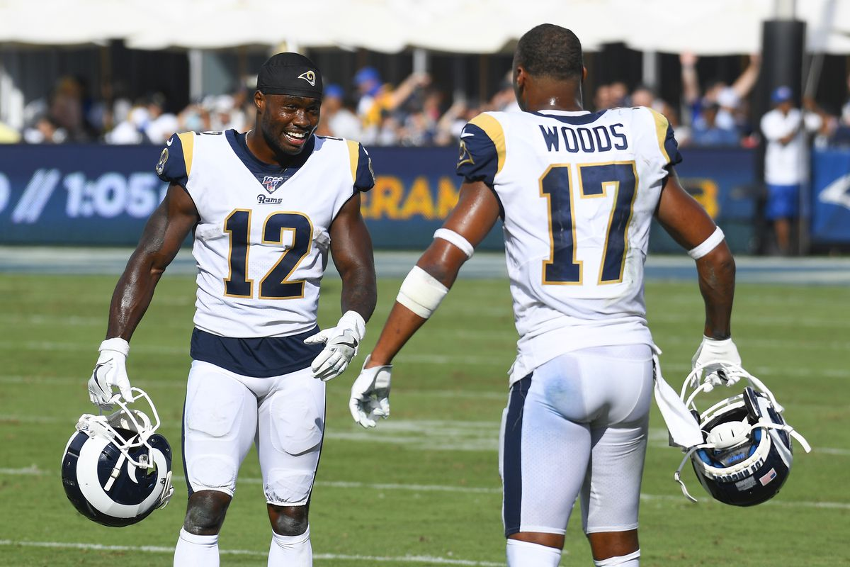 Los Angeles Rams Wide Receiver Brandin Cooks and Los Angeles Rams Wide Receiver Robert Woods look on during an NFL game between the New Orleans Saints and the Los Angeles Rams on September 15, 2019, at the Los Angeles Memorial Coliseum in Los Angeles, CA.