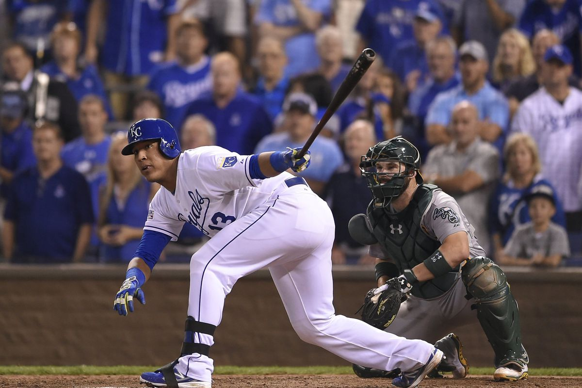 The Kansas City Royals' Salvador Perez gets the game-winning RBI hit in the 12th inning against the Oakland Athletics in the American League Wild Card at Kauffman Stadium in Kansas City, Mo., on Tuesday, Sept. 30, 2014. The Royals rallied to win, 9-8, in 12 innings.