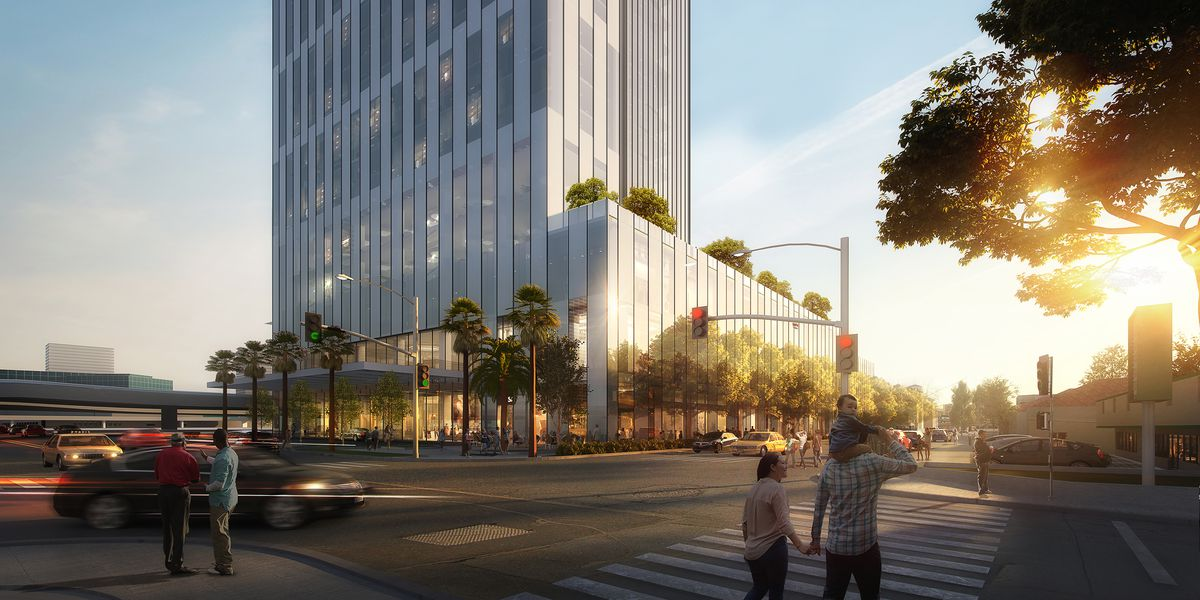 A rendering of the intersection of Pico and Albany, with the bottom floors of the hotel visible. There are trees around the lower levels of the hotel and the freeway is in the background.