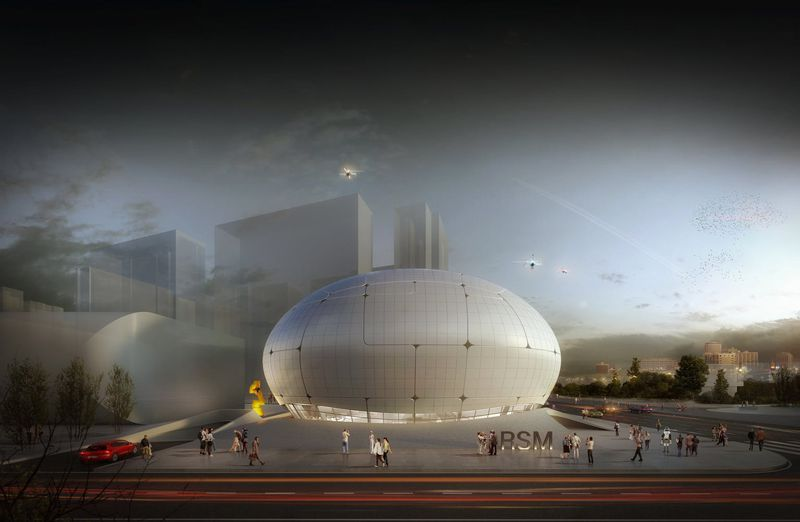 Rendering of round, white museum