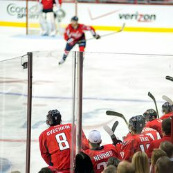 Ovechkin Waits to Jump Off Bench