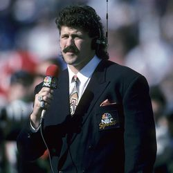 This Jan. 31, 1993, photo provided by the NFL shows NBC sideline reporter and former player Todd Christensen doing a segment from Super Bowl XXVII, between the Dallas Cowboys and Buffalo Bills, at the Rose Bowl in Pasadena, Calif. Christensen died from complications during liver transplant surgery. He was 57. Christensen's son, Toby Christensen, said his father passed away Wednesday morning, Nov. 13, 2013 at Intermountain Medical Center near his home in Alpine, Utah. (AP Photo/NFL Photos)