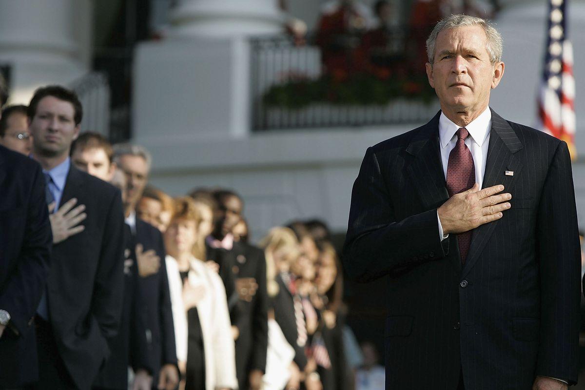 President Bush Observes Moment Of Silence For 9/11 Attacks