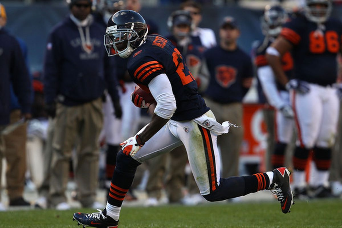 Devin Hester of the Chicago Bears returns a punt 47 yards against the Minnesota Vikings at Soldier Field on November 14 2010 in Chicago Illinois. The Bears defeated the Vikings 27-13. (Photo by Jonathan Daniel/Getty Images)