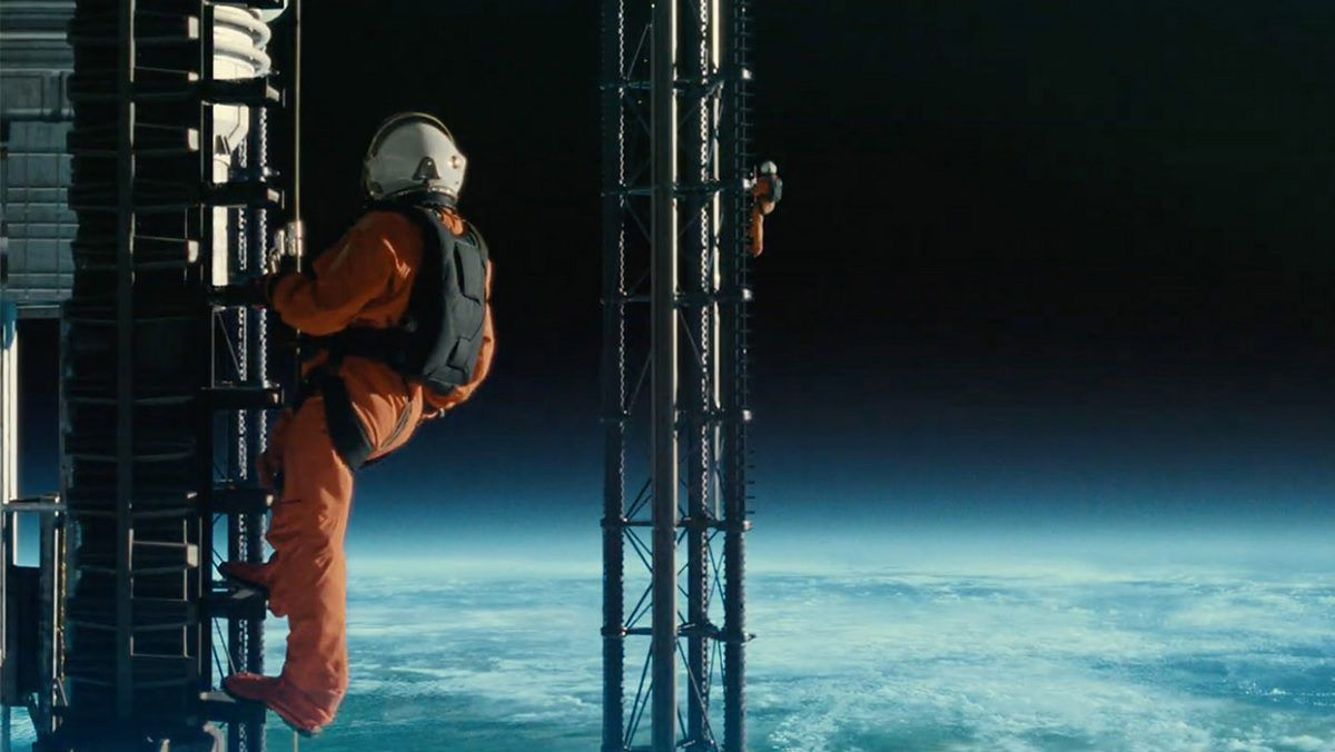 """An astronaut in a spacesuit climbs the International Space Antenna in """"Ad Astra."""""""