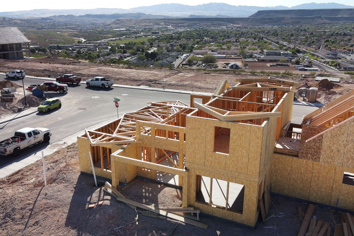 Homes under construction in St. Georgeis pictured on Thursday, April 8, 2021. St. George traffic is heavy, and single-family housing, apartments and commercial real estate are hard to find due growth in the area.