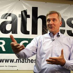 Rep. Jim Matheson speaks with members of the media in West Jordan, Monday, Oct. 1, 2012.