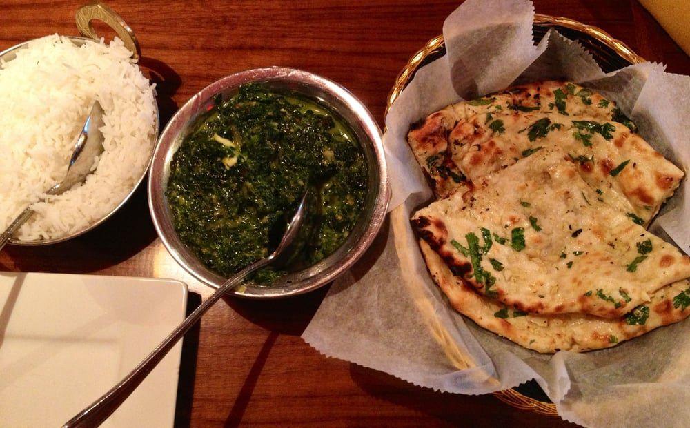 Palak paneer and garlic naan at Tulsi