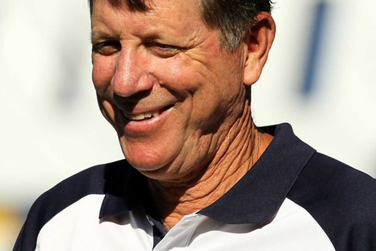 SAN DIEGO - AUGUST 14:  Head coach Norv Turner of the San Diego Chargers smiles on the field before the game with the Chicago Bears on August 14 2010 at Qualcomm Stadium in San Diego California.  (Photo by Stephen Dunn/Getty Images)