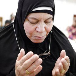 Yusra A Abu Qadoom prays at the Khadeeja Islamic Center in West Valley City on Friday, June 29, 2012.