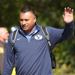 Brigham Young Cougars head coach Kalani Sitake waves to fans upon arrival at the stadium prior to the Brigham Young Cougars and Michigan State Spartans game in East Lansing, MI on Saturday, Oct. 8, 2016.