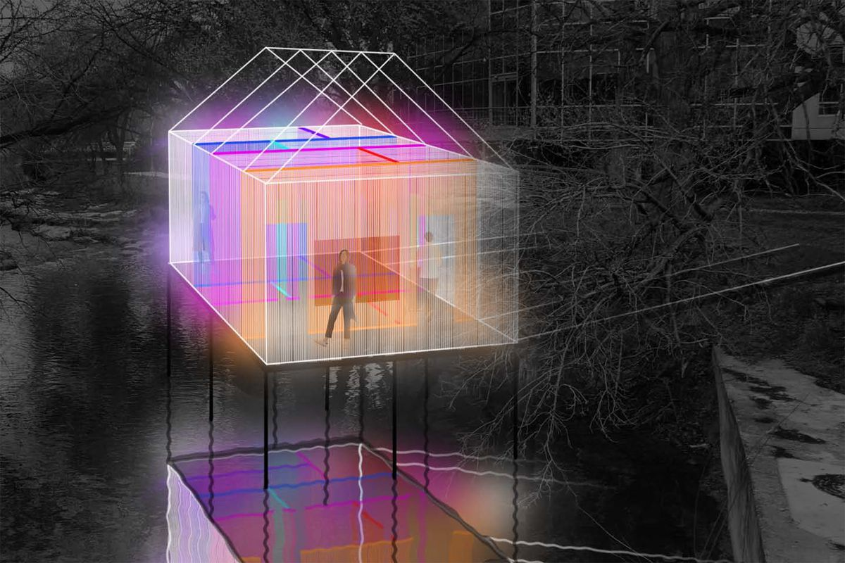 Drawing of illuminated house suspended over creek