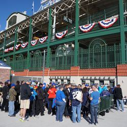 Another view of the fans waiting at the ticket windows