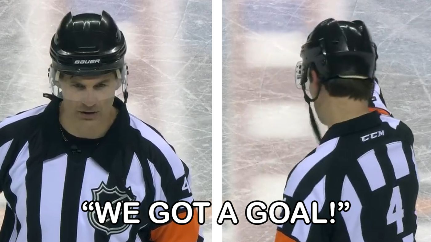 And the Academy Award for Most Dramatic Goal Review goes to this NHL referee