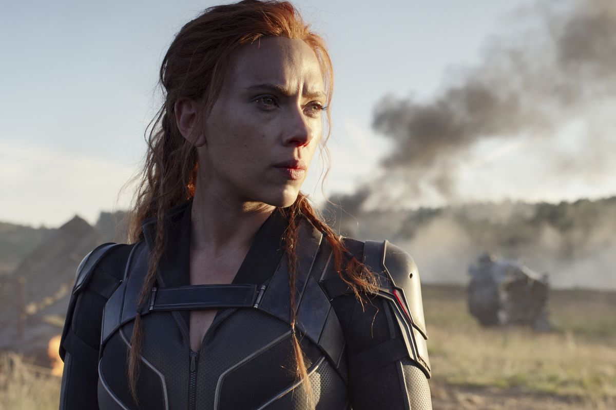 """This image released by Disney/Marvel Studios shows Scarlett Johansson in a scene from """"Black Widow,"""" which is scheduled to be released in July."""