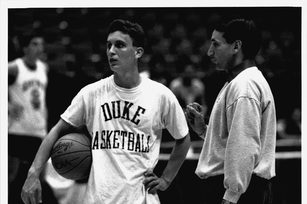 Duke University Head Coach Mike Krzyzewski and Bobby Hurley