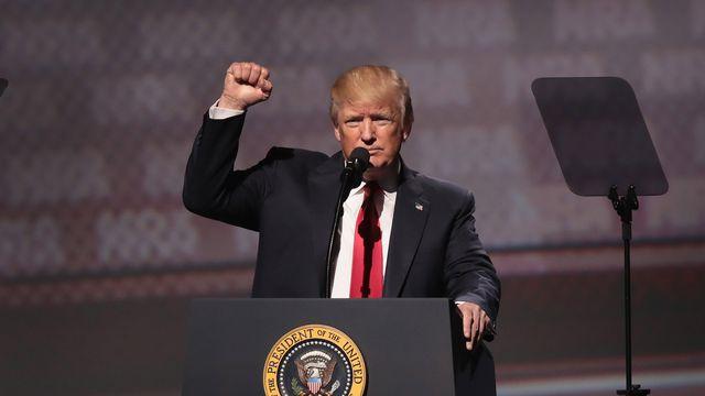 President Trump at annual NRA meeting in Atlanta, April 2017.