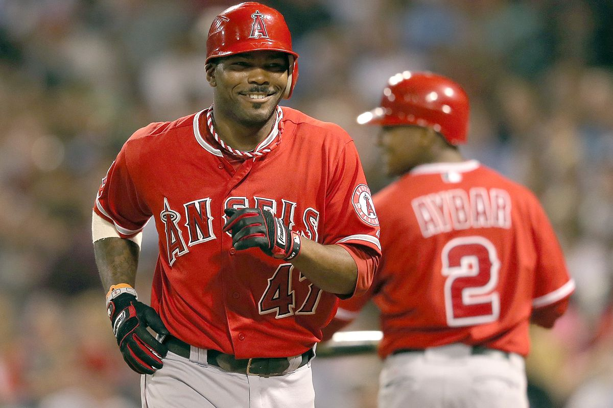 FOXBORO, MA - AUGUST 22:  Howard Kendrick #47 of the Los Angeles Angels smiles after he hit a home run in the sixth inning against the Boston Red Sox at Fenway Park on August 22, 2012 in Boston, Massachusetts.  (Photo by Jim Rogash/Getty Images)