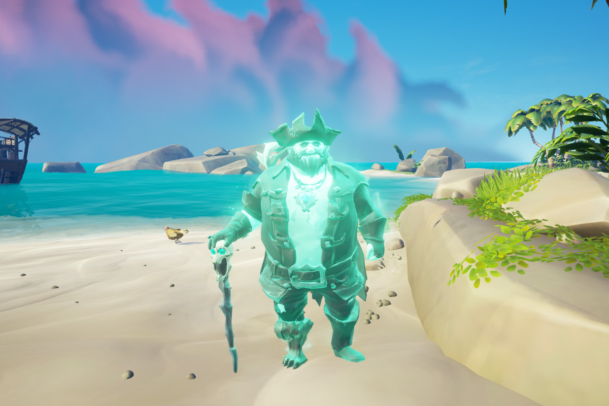 Sea of Thieves - the pirate lord stands on a sandy shore.