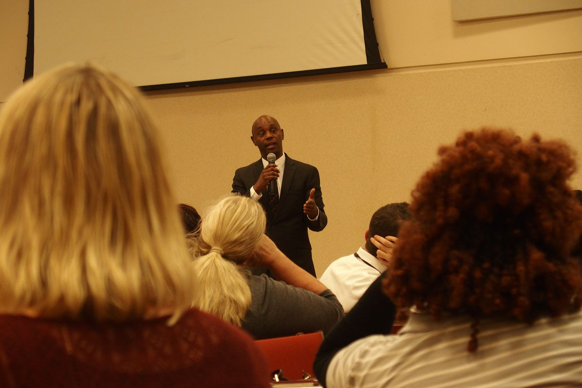 Superintendent Dorsey Hopson answers questions from Memphis teachers at a town hall hosted by United Education Association of Shelby County on Monday.