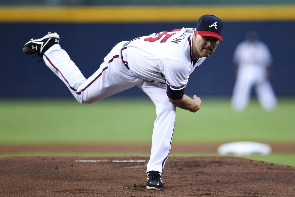 ATLANTA, GA - SEPTEMBER 1: Tim Hudson #15 of the Atlanta Braves pitches in the first inning of the game against the Washington Nationals at Turner Field on September 1, 2011 in Atlanta, Georgia. (Photo by Daniel Shirey/Getty Images)